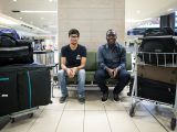 Carleton International students Ruhaan Dev Tyagi (left) and Tolulope Akinbulire (right) are greeted at the Ottawa International Airport in Sept. 2016