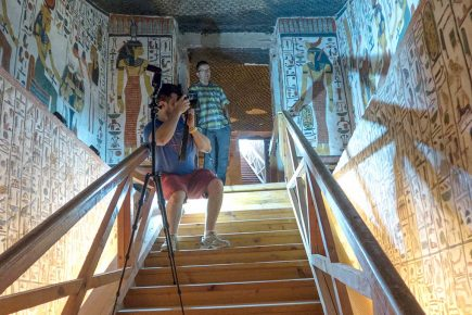 Heritage Engineering master's student Alex Federman documents the entrance to Queen Nefertari's tomb.