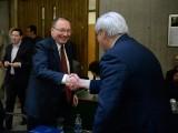 Tony Bailetti shakes hands with Israeli Ambassador Rafael Barak.