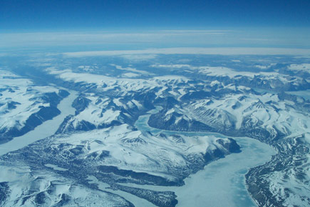 Canada-Russia Arctic Relations: An aerial shots of Baffin Island is pictured