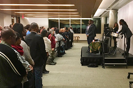 The crowd watches a musical performance during a Black History Month event in February 2017