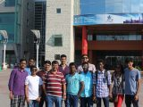 The visiting Indian students pose together outside of Ottawa's City Hall.