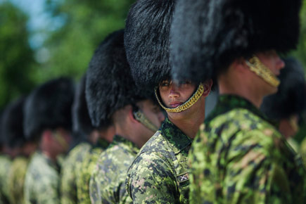 Members of the Ceremonial Guard practice in partial regalia.