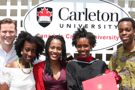 A snapshot of a family at Carleton Convocation.