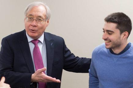 Pablo Srugo poses with Carleton's Tony Bailetti.