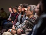 The audience listens during an event highlighting Indigenous storytellers