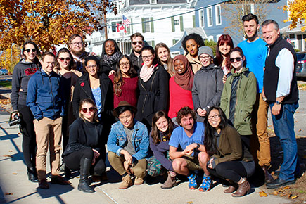 19 Carleton Journalism students who covered the U.S. Election gather together in upstate New York.
