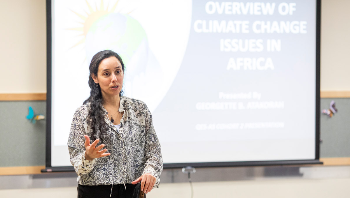 Prof. Onita Basu speaks during the Carleton Climate ConversationsCarleton Climate Conversations.