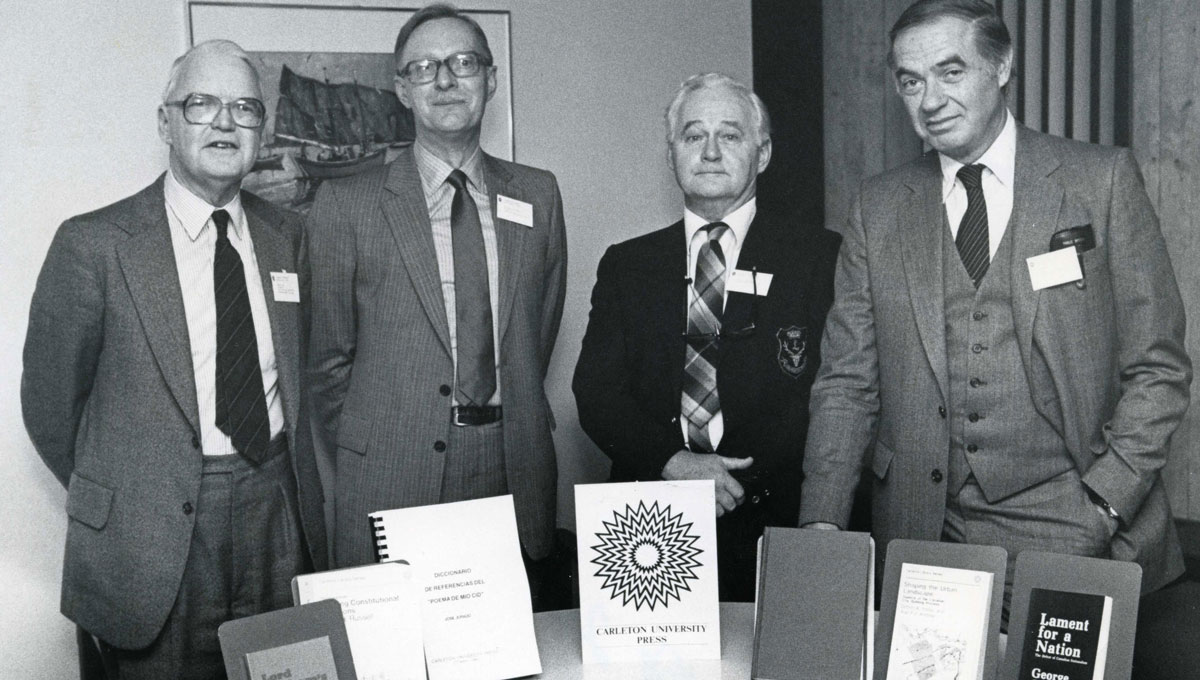 David Farr (far left) at a gathering of the Carleton University Press in 1970