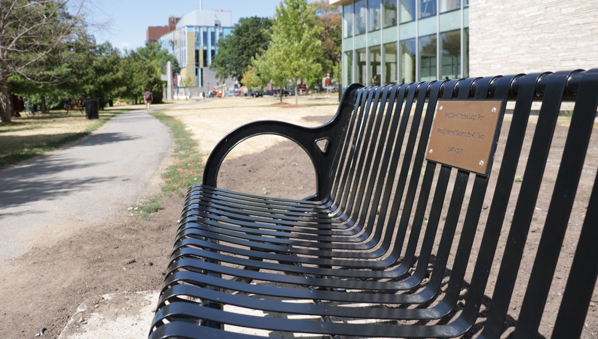 The Farr Bench, situated facing the Rideau River outside RIchcraft Hall.