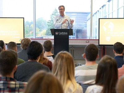 Photo for the news post: Mayor Jim Watson Visits Student Group Focused on Sustainability