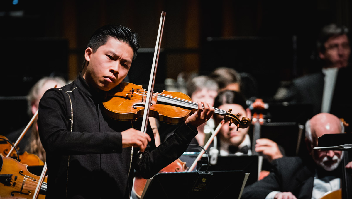 Violinist Kerson Leong performs onstage at Dominion-Chalmers.