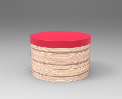 A circular accessible chair render.