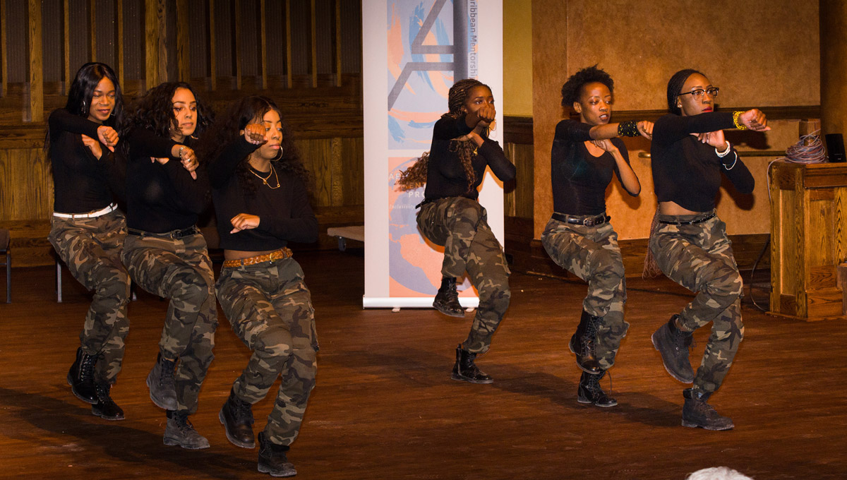 Sisters from Sigma Beta Phi perform during the Still Standing event celebrating Black History Month.