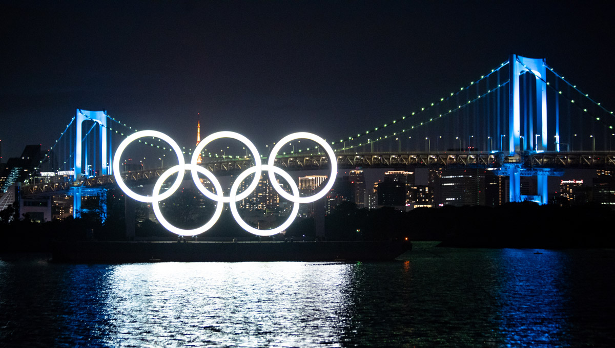The Tokyo 2020 Olympic Games Monument of Olympic Rings at night