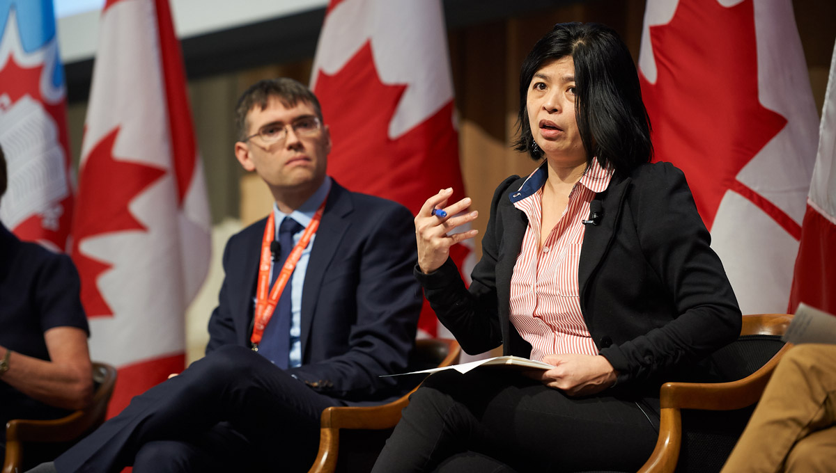 Merlyna Lim speaks. Electoral interferance was the key question of Artificial Intelligence, Democracy, and Your Election, an event hosted by Carleton on Feb. 25, 2019.