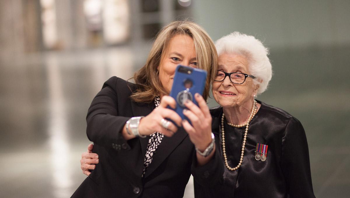 Adrienne Arsenault and Elsa Lessard take a selfie together.