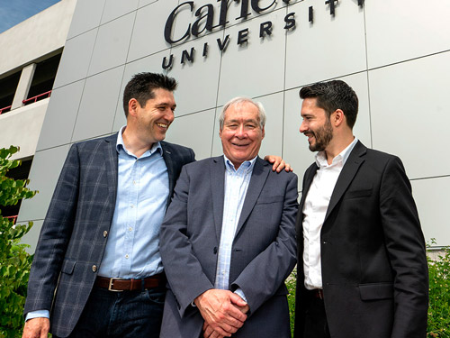 Photo of Prof. Tony Bailetti (middle) with his sons Eduardo and Marco