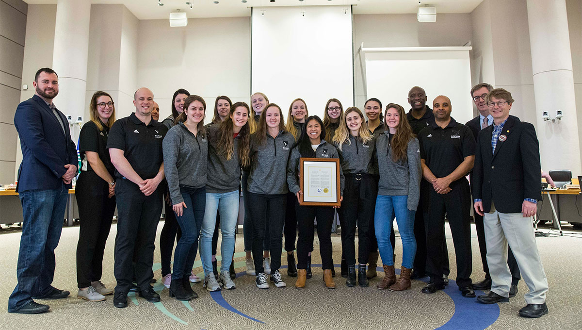 Women in Sport: Carleton's women's basketball team at Ottawa City Hall.
