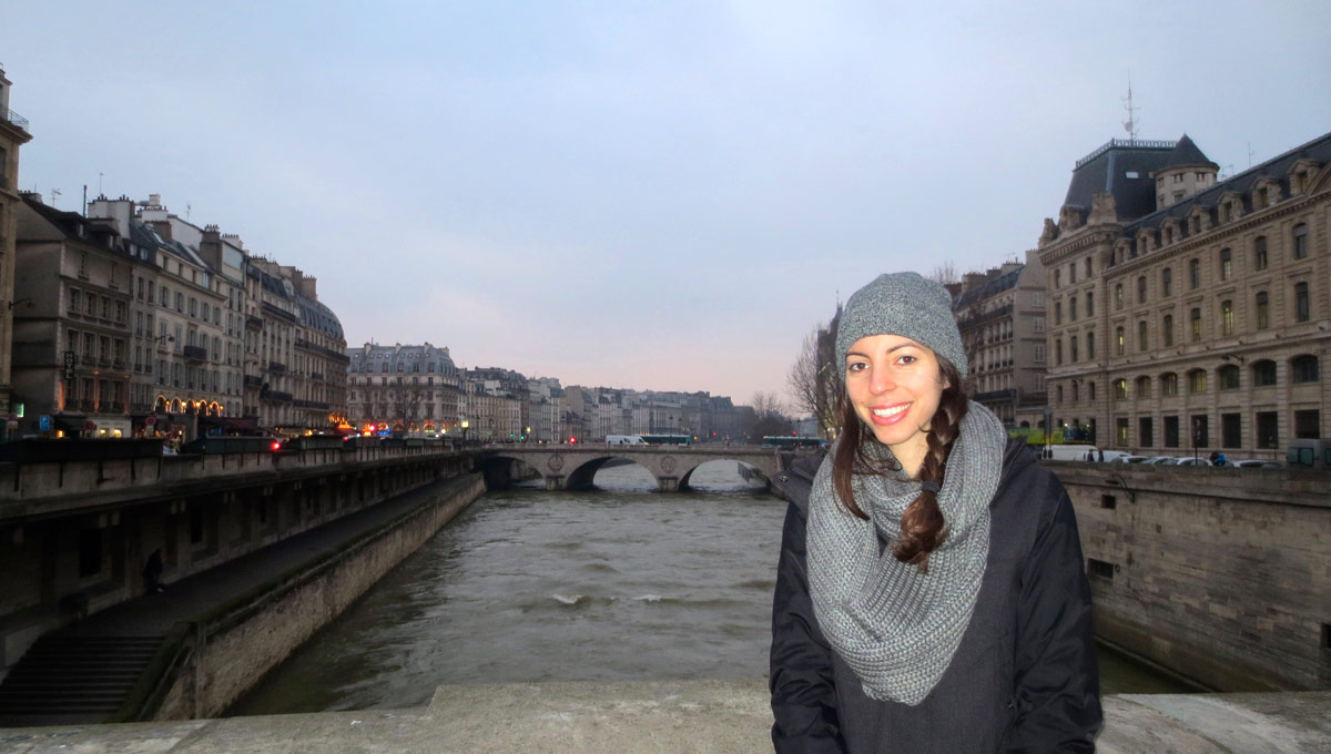 Carleton University graduate student Jessica Nasrallah in front of the The Seine in Paris.