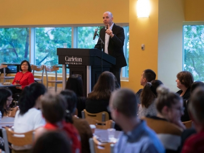 Photo for the news post: President Hosts Community Breakfasts and Highlights Carleton's Momentum