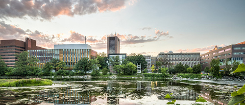 Carleton University campus is seen across the river