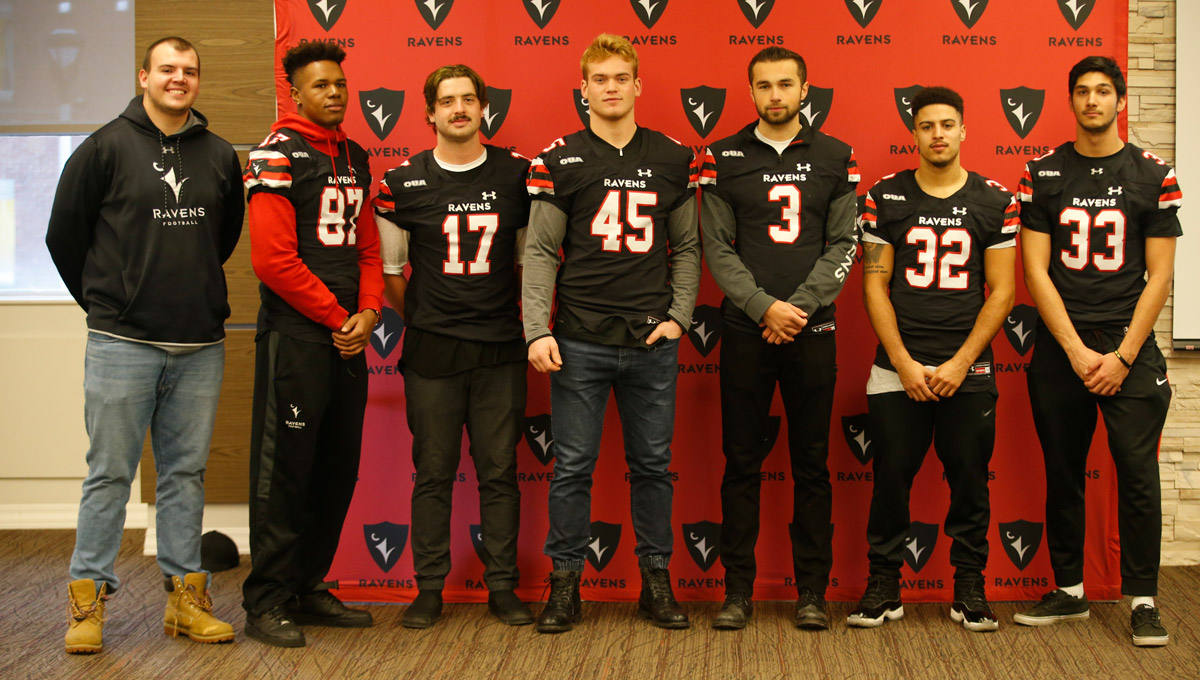 The Ravens men's football team during a blood drive in which they helped collect an impressive 78 pints of blood on Nov. 30, 2018