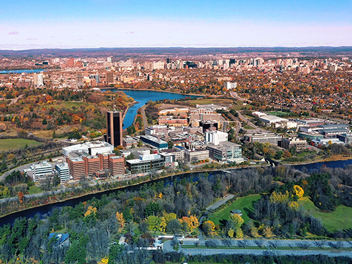 Aerial view of the Carleton University campus
