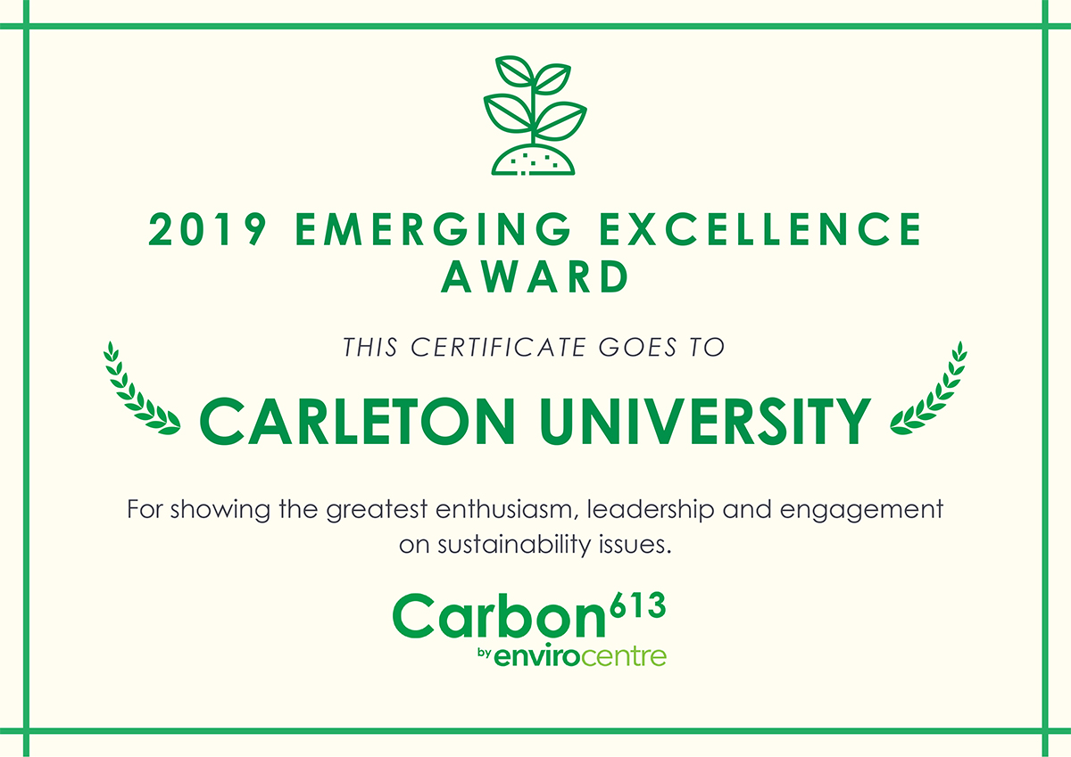 Carleton University Sustainability Efforts Recognized with Carbon 613 Award