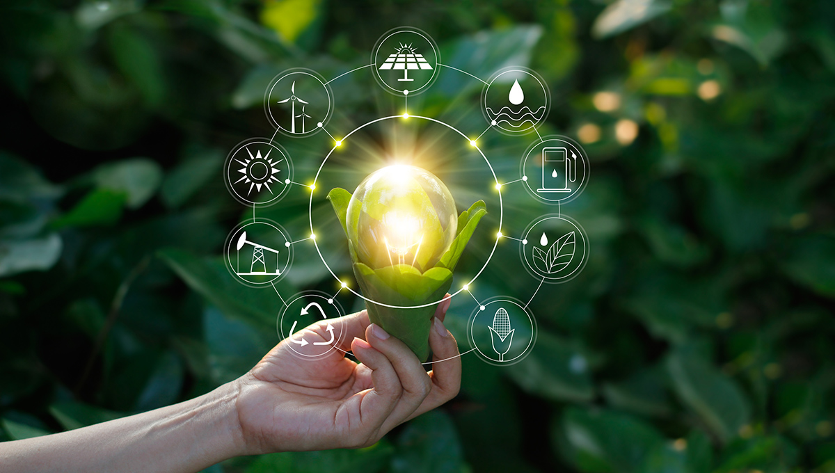 Ecology concept. Hand holding light bulb against nature on green leaf with icons energy sources for renewable, sustainable development, save energy