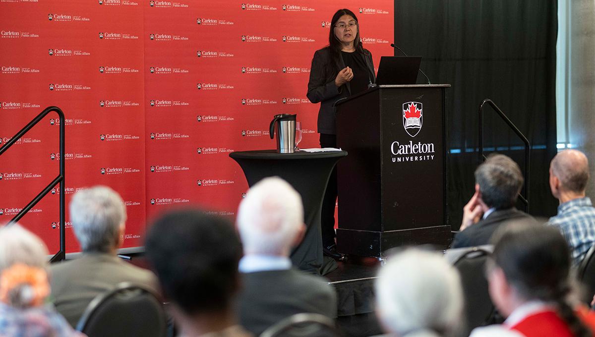 Deborah McGregor speaks to the audience
