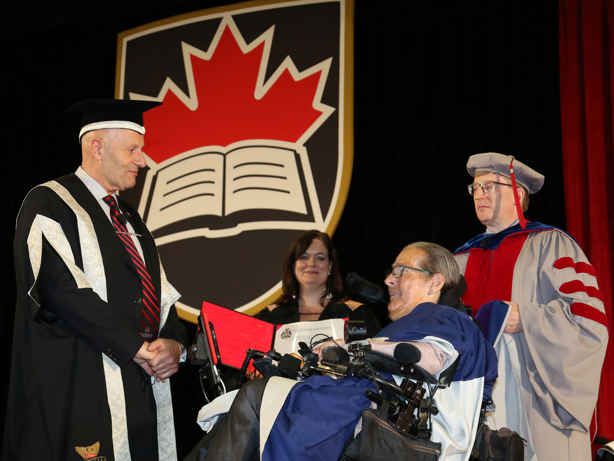 Catherine Frazee, professor emerita at Ryerson University, received an honorary degree during Carleton's Convocation for her leadership as a writer, educator, activist and advocate for promoting disability studies, art, culture and action in Canada.