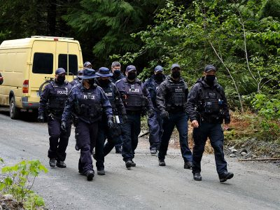 Photo for the news post: Intense police surveillance for Indigenous land defenders contrasts with a laissez-faire stance for anti-vax protesters