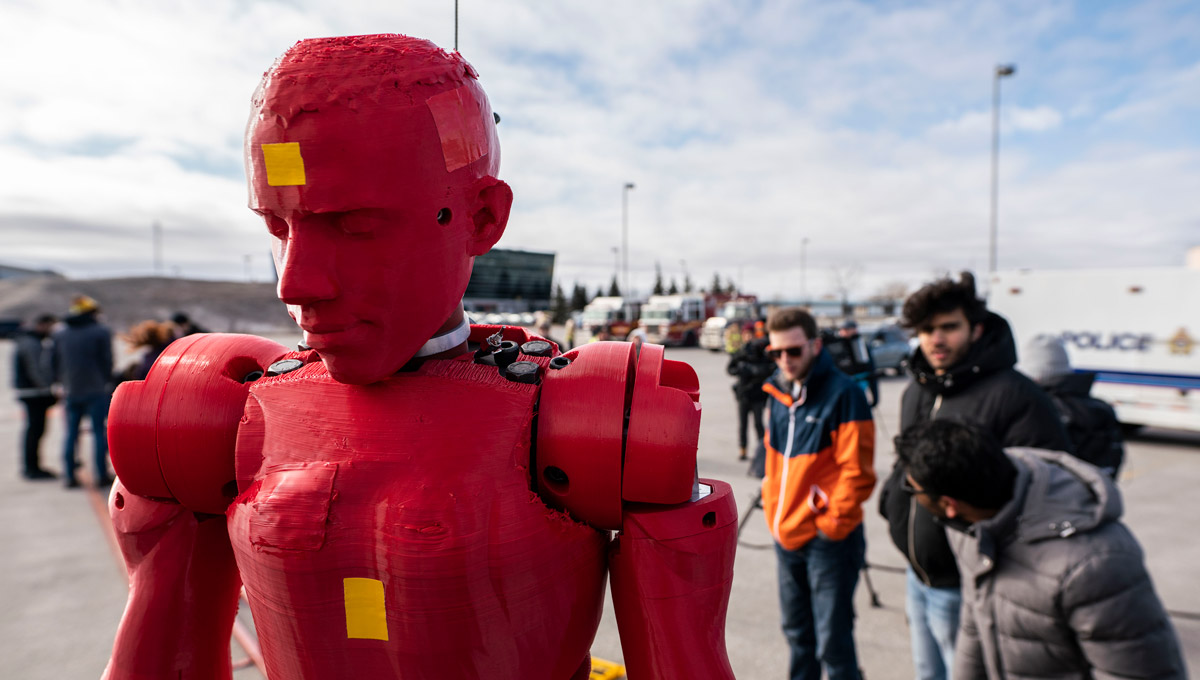A close up of the dummy, while the Carleton University Crash Dummy team sets up a rear-end collision test between a motor vehicle and cyclist in co-ordination with the Ottawa Police Service Collision Investigation Unit on Friday, March 29, 2019, at the Canadian Tire Centre.