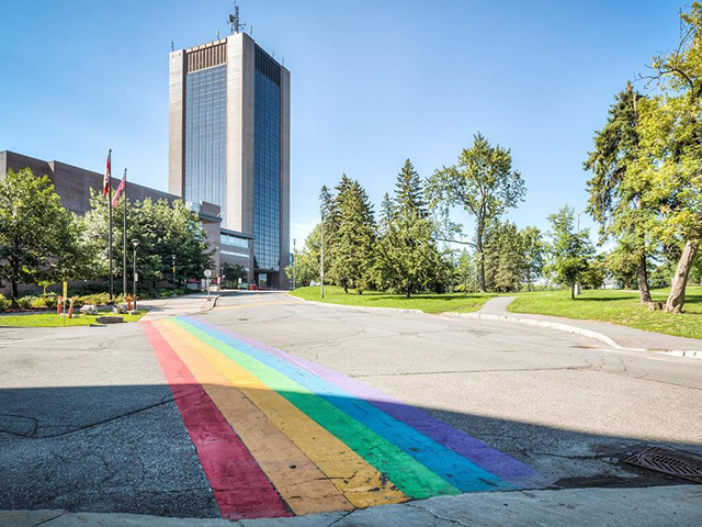 A rainbow painted road celebrating Pride Month