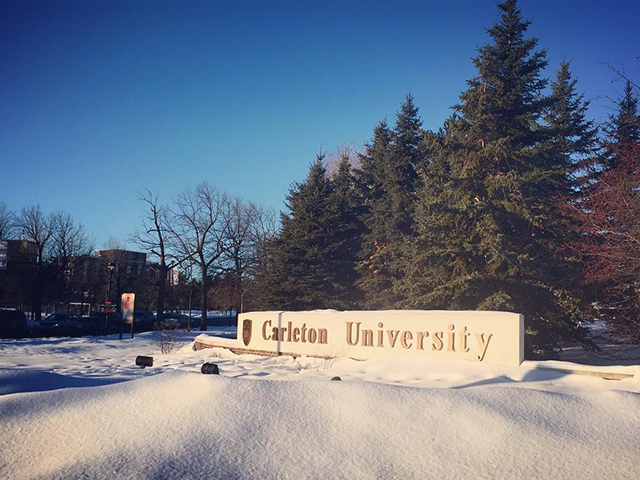 The Carleton University sign on Bronson Avenue
