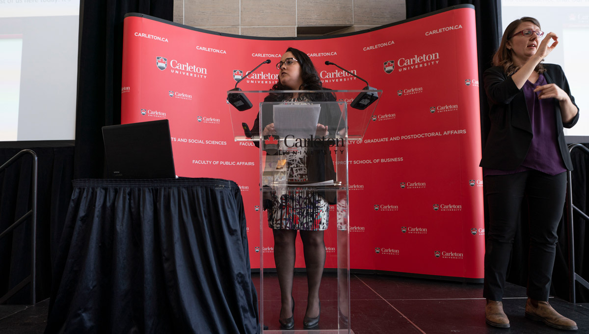 Amanda Bettencourt speaks during the Carleton University Accessible Experiential Learning Showcase.