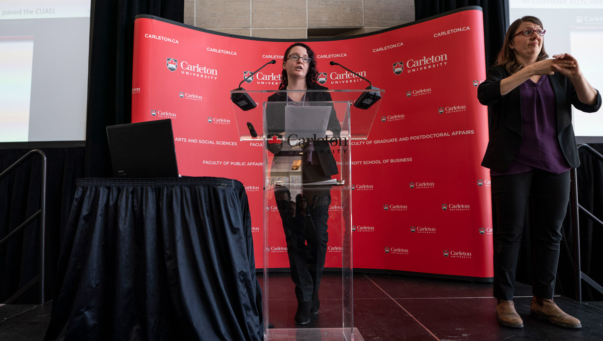 Stephanie Ellis speaks during the Carleton University Accessible Experiential Learning Showcase.