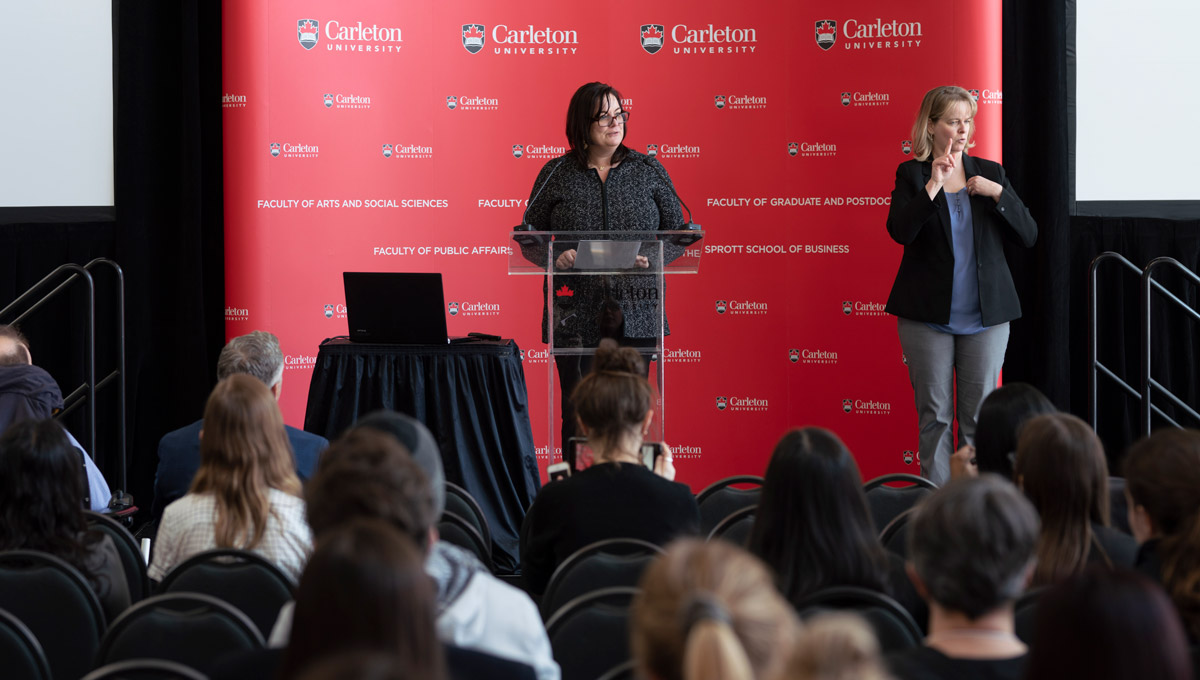 Suzanne Blanchard speaks during the Carleton University Accessible Experiential Learning Showcase.