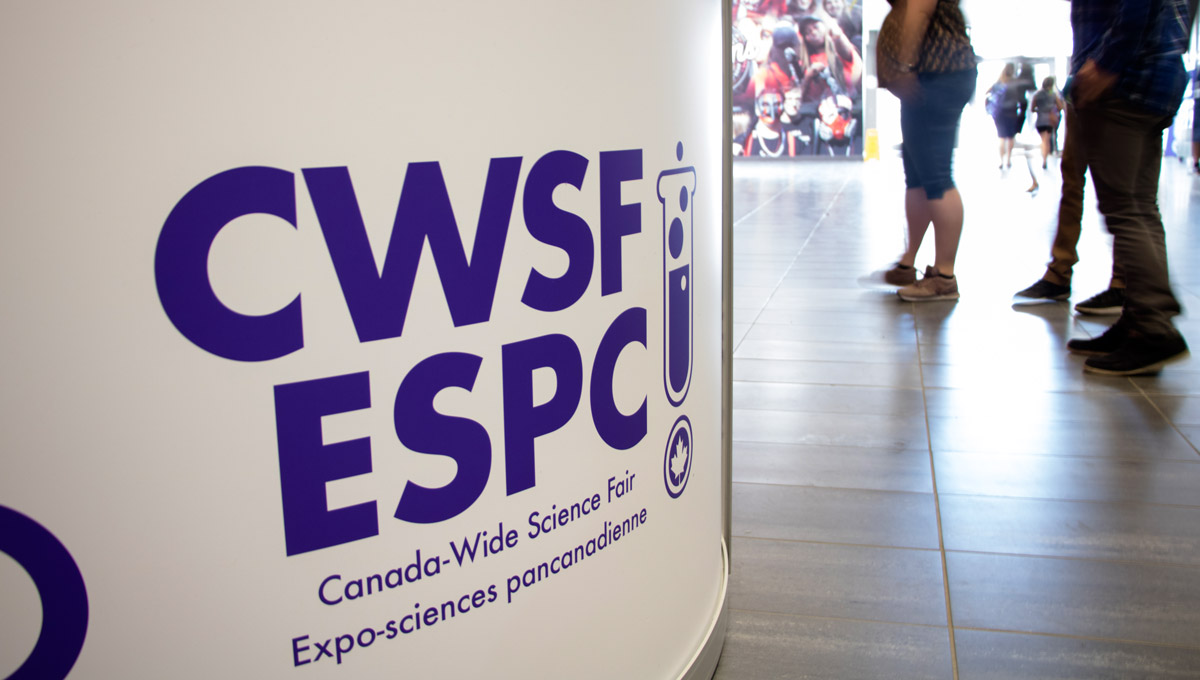 A photo of a sign in the lobby during the Canada Wide Science Fair in 2018.