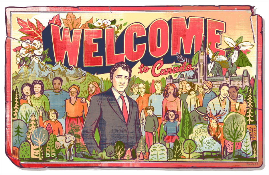 Welcome to Canada, Illustration by Jacqui Oakley.