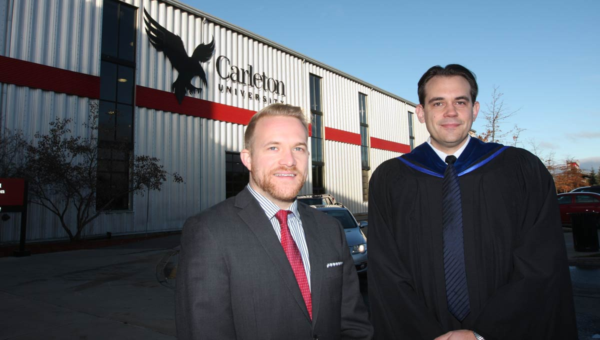 PhD student Jason Crann & Matthias Neufang, Dean of the Faculty of Graduate and Postdoctoral Affairs