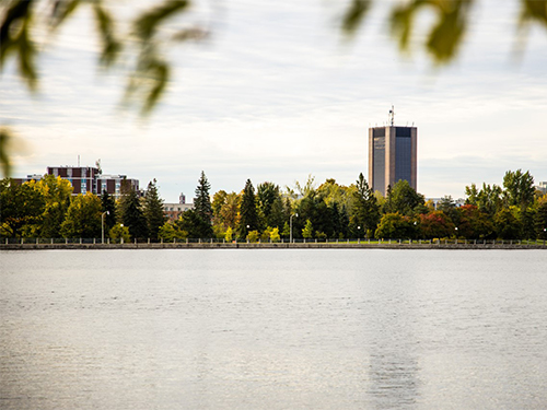Dunton Tower is seen across the Rideau River
