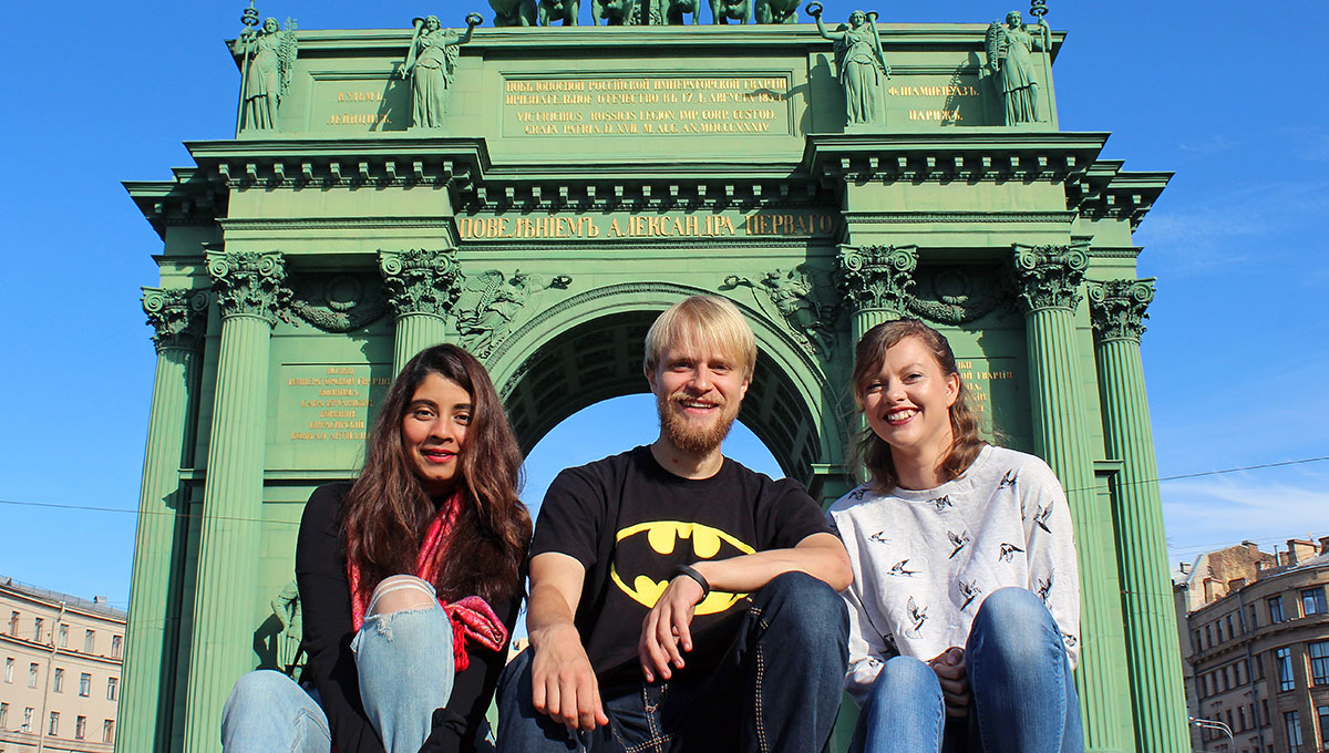 Carleton students Sara Khawja, Nico Kastek, Erin Bethell