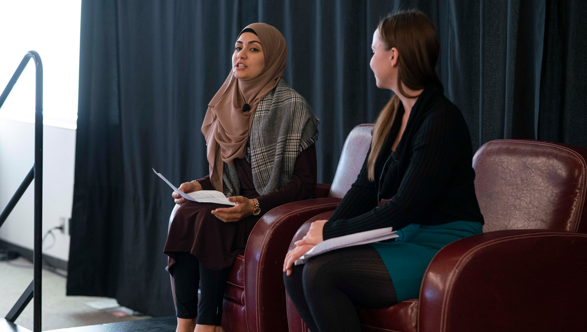 Carleton's Zeinab Fashwal speaks at an event launching Teaching and Learning Services' collection of 67 short stories from Carleton's faculty members and staff in February 2019.