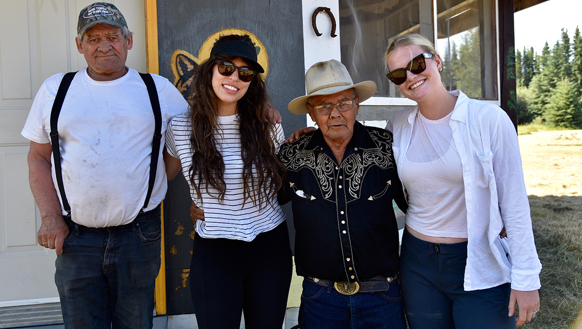Left to right: Elder Frank Patterson, student Carly Zulich, Elder Jimmy Johnny and student Elsy Willis in Mayo