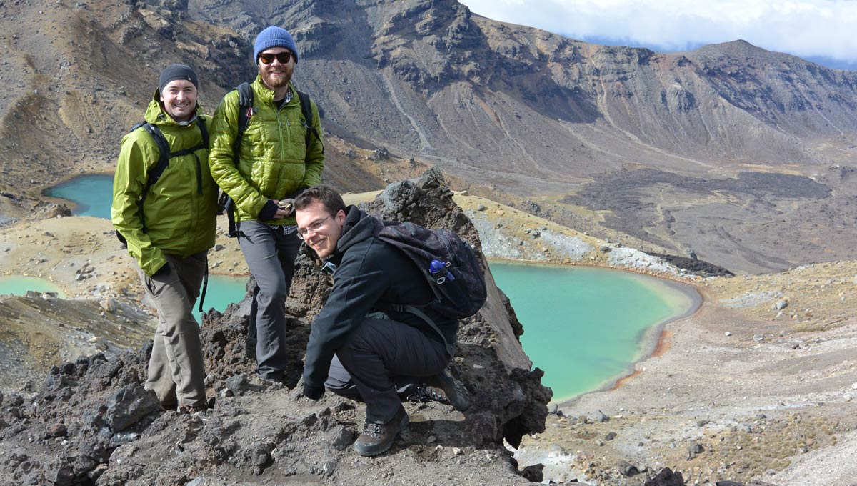 From the summit of the Tongariro Alpine crossing (left to right) Loughlin Tuck, Wilder Greenman and Michael Thompson.