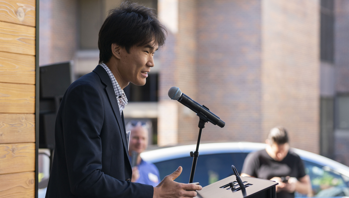 Seungyeon Hong speaks at the opening of the Northern Nomad energy autonomous house, which was designed and built by students.