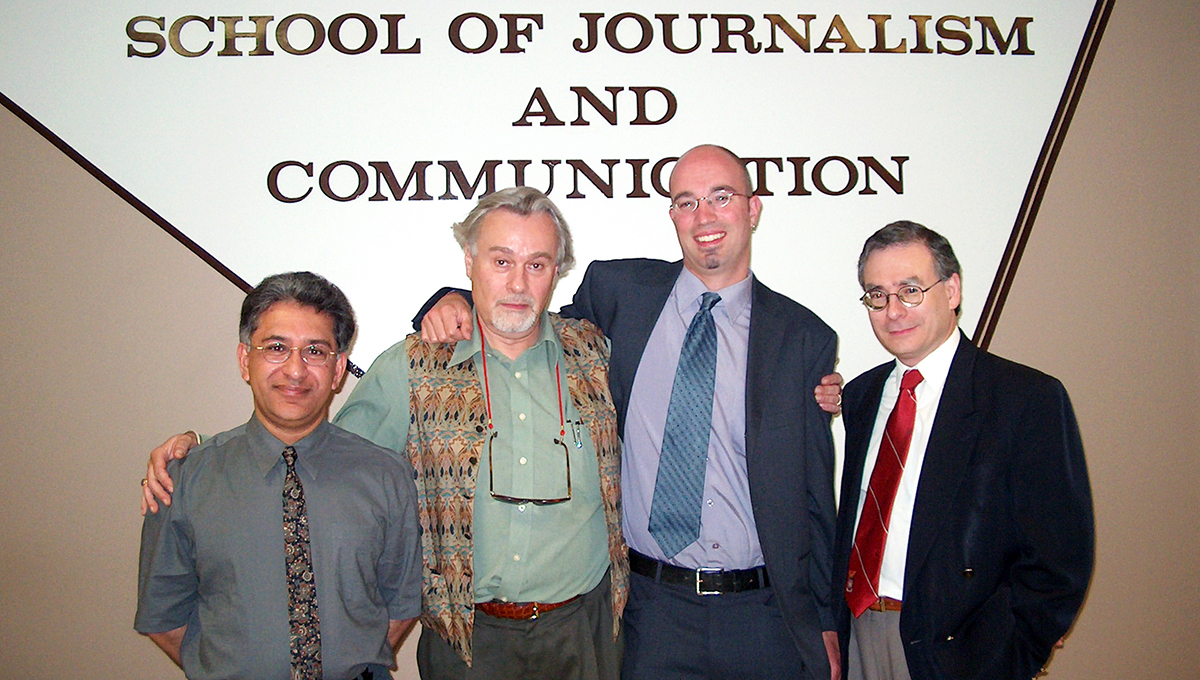 From left to right: Prof. Karim Karim, Prof. Michael Dorland, Peter Hodgins, the program's first PhD graduate and now Associate Professor in the School of Indigenous and Canadian Studies, and Prof. Paul Attallah.