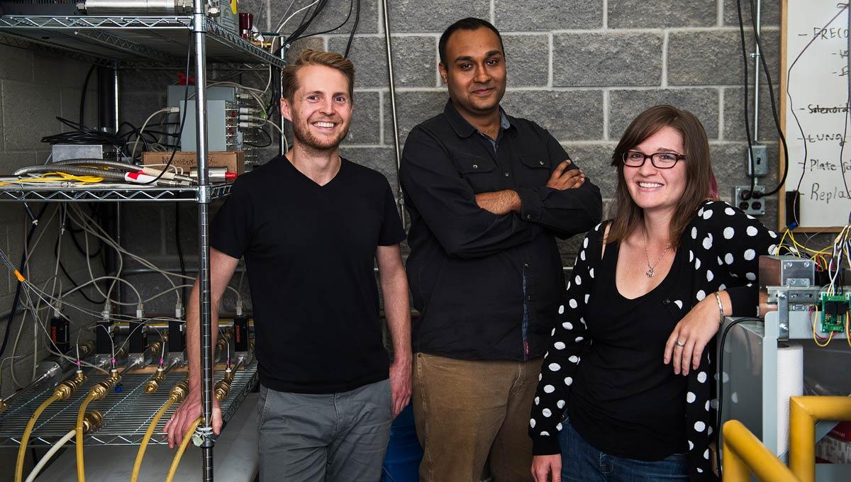 From left to right: Prof. Johnson's graduate students Darcy Corbin, Jasvardan Sethi and Melina Jefferson